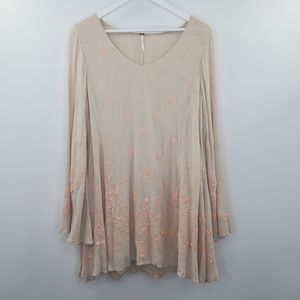 Free People Floral Embroidered Tunic Dress Blush